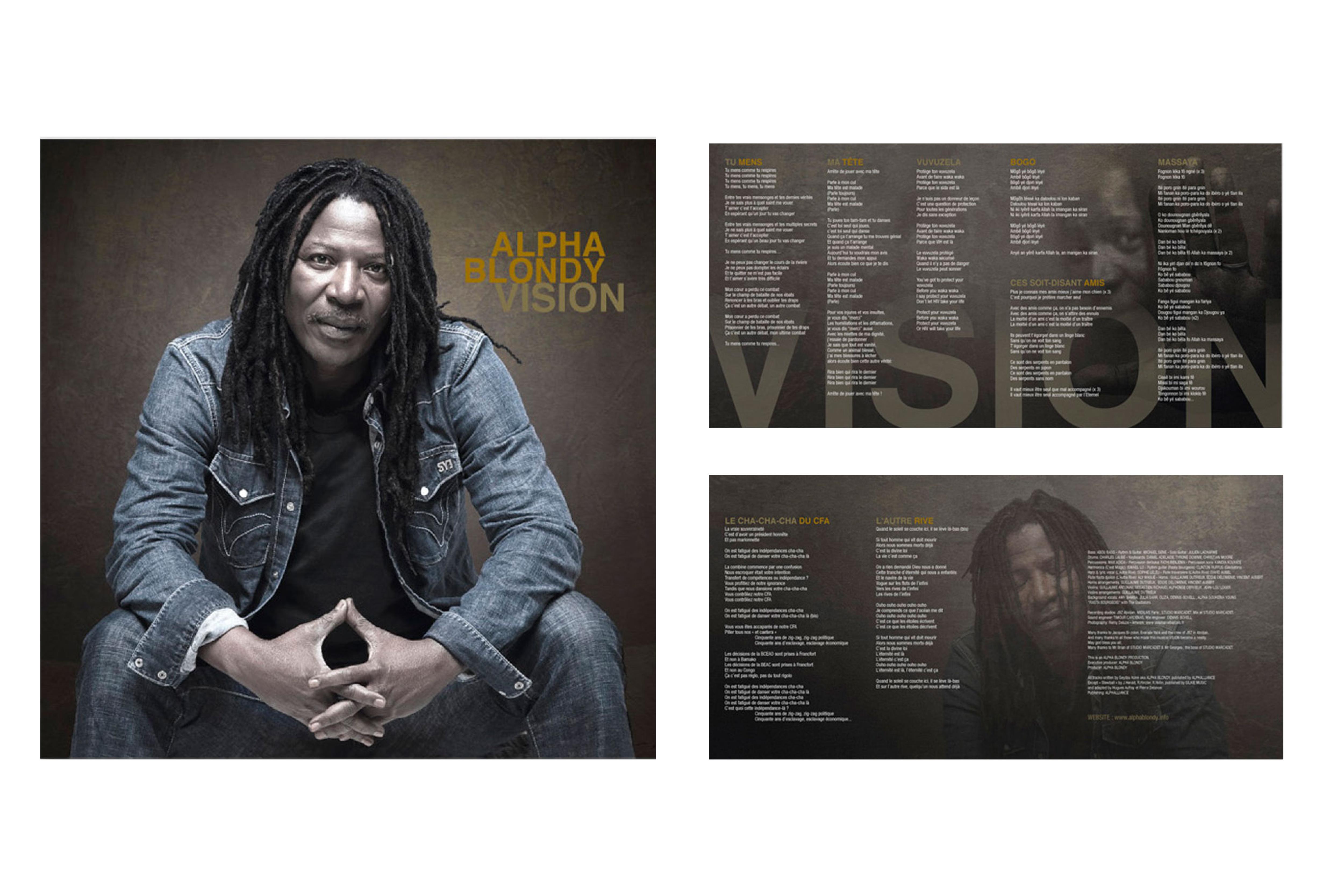 Création de la pochette et du livret pour  l'album Vision d'Alpha Blondy / Client : Wagram